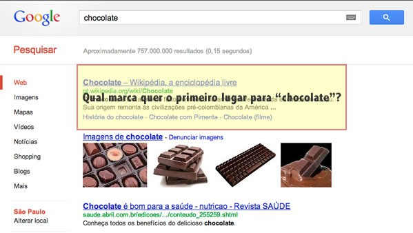 Primeiro lugar no Google para Chocolate