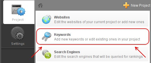 Selecionar Keywords