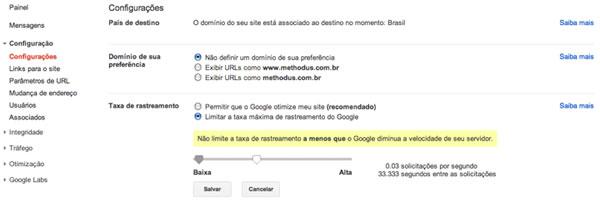 Velocidade de rastreamento do Google