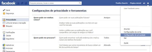 Facebook configurações de privacidade