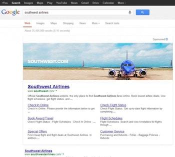 Anúncios panorâmicos nos resultados do Google.com