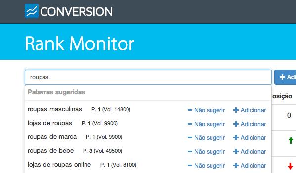 O Rank Monitor sugere suas melhores palavras