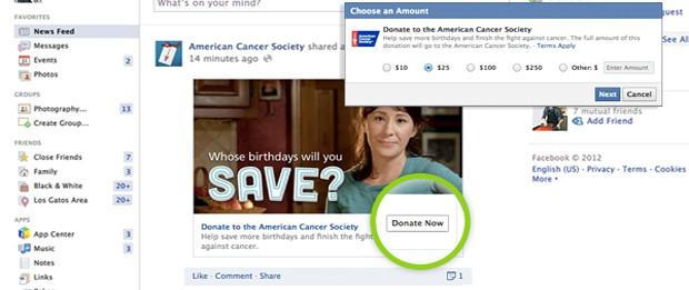 Facebook lança botão para fazer doações a ONGs