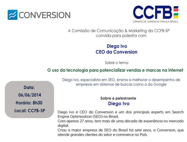 """Convite - Palestra """"O uso da tecnologia para potencializar vendas e marcas na internet"""""""