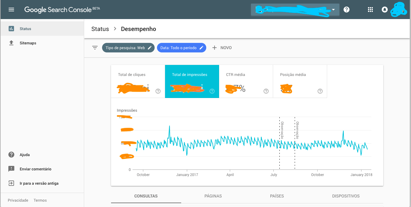 Novo google search console vai trazer dados de at 16 for Search console