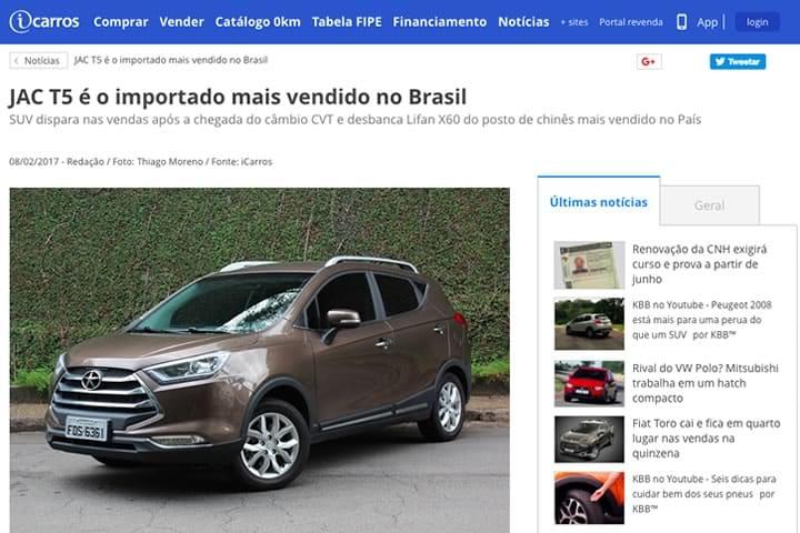 JAC T5 importado mais vendido do Brasil