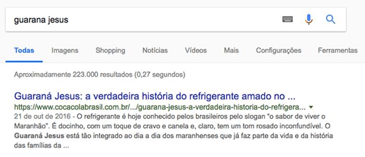 """Exemplo de SEO Criativo: busca por """"Guaraná Jesus"""", que traz resultado da Coca-Cola"""