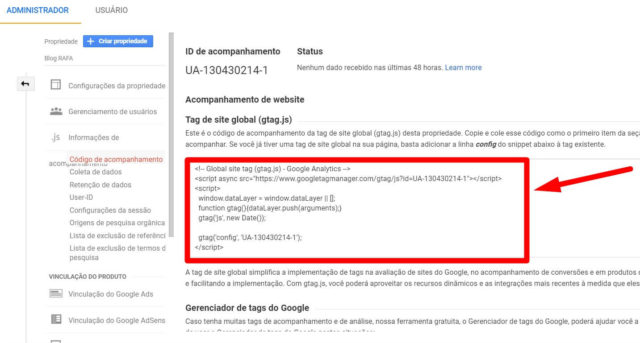 código Google Analytics