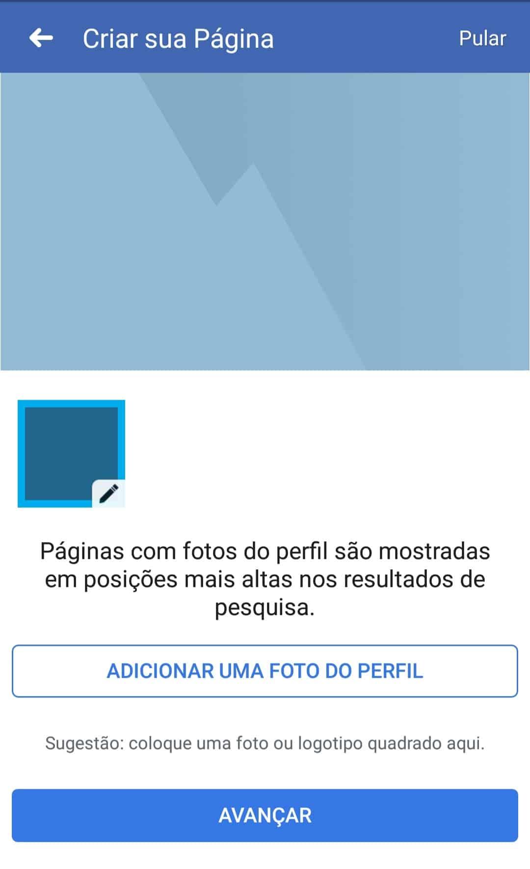 adicionando foto de perfil pelo celular