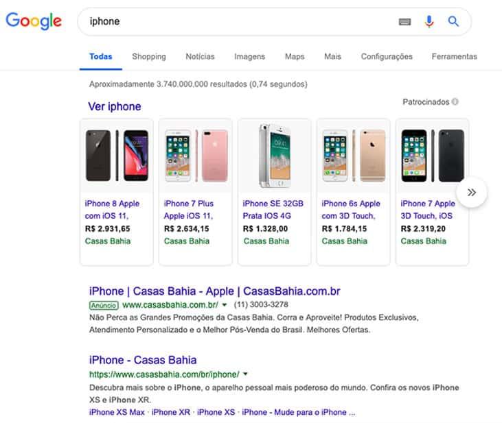 Busca no Google por iPhone
