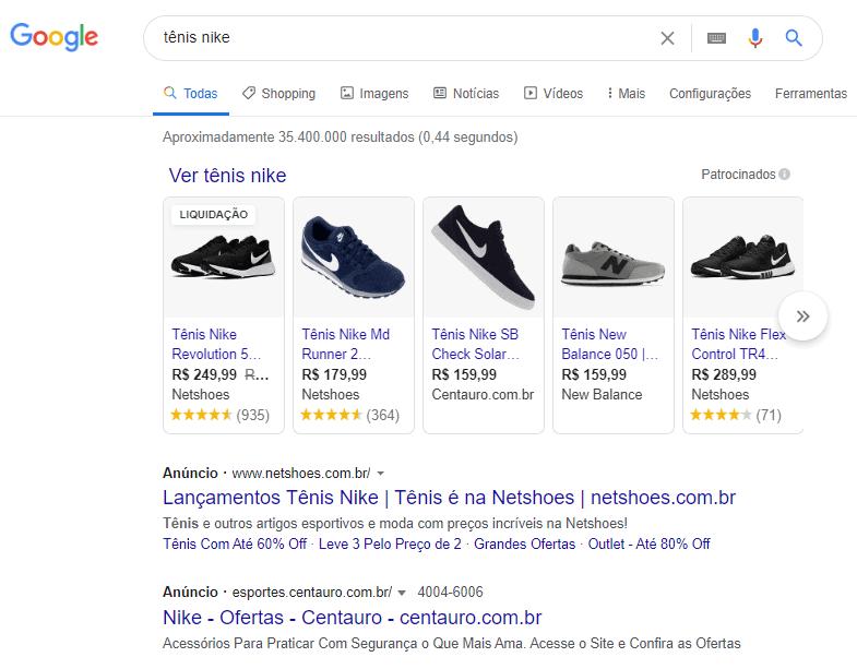 SERP com Anúncios e Google Shopping