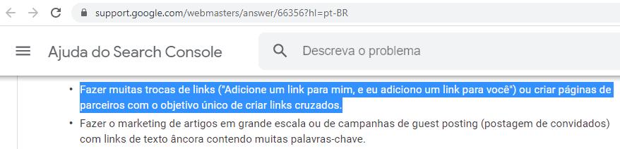 Google falando sobre troca de links