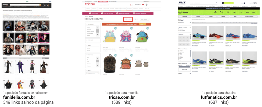 Telas de sites e respectivos outlinks