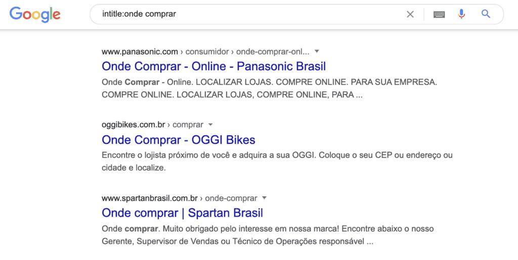 Pesquisa no Google com Intitle