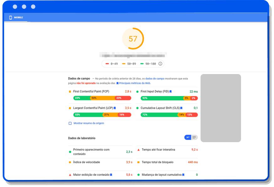 Tela Google Page Speed Insights Celular