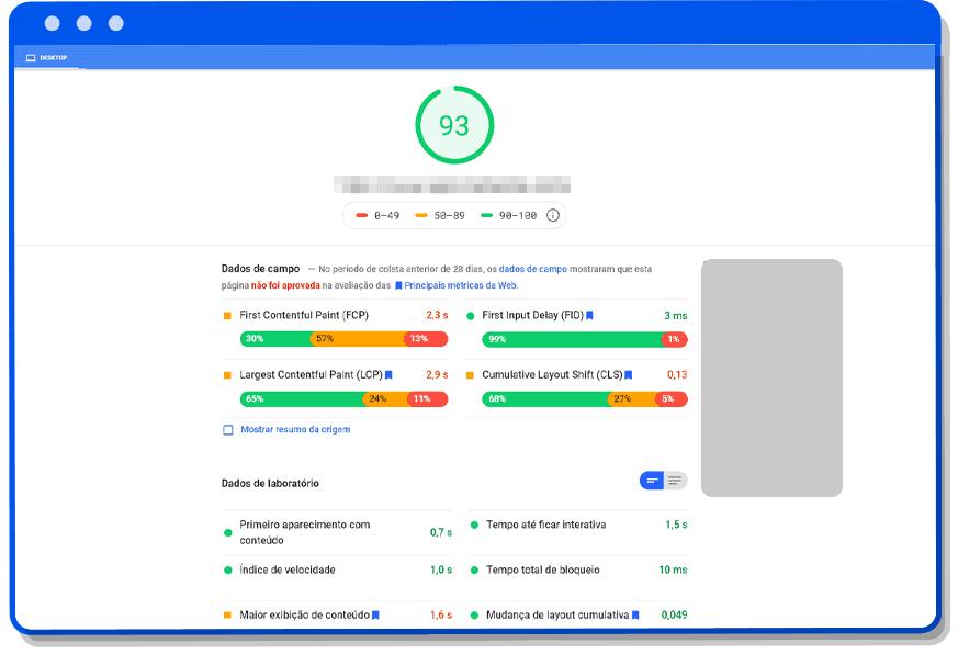 Tela Google Page Speed Insights Desktop