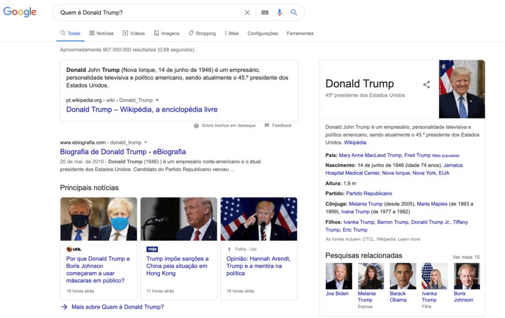 Busca no Google: quem é Donald Trump?