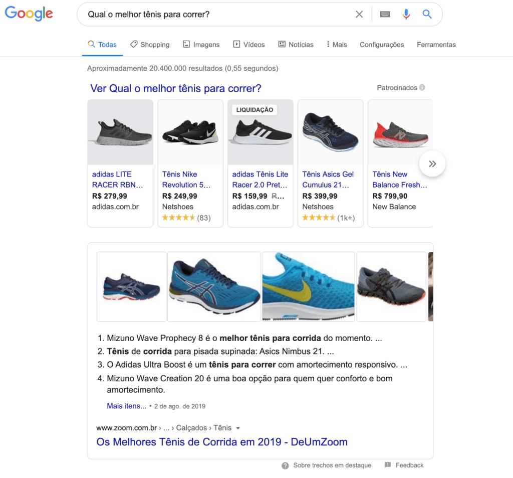 Busca no Google: Qual o melhor tênis para correr?