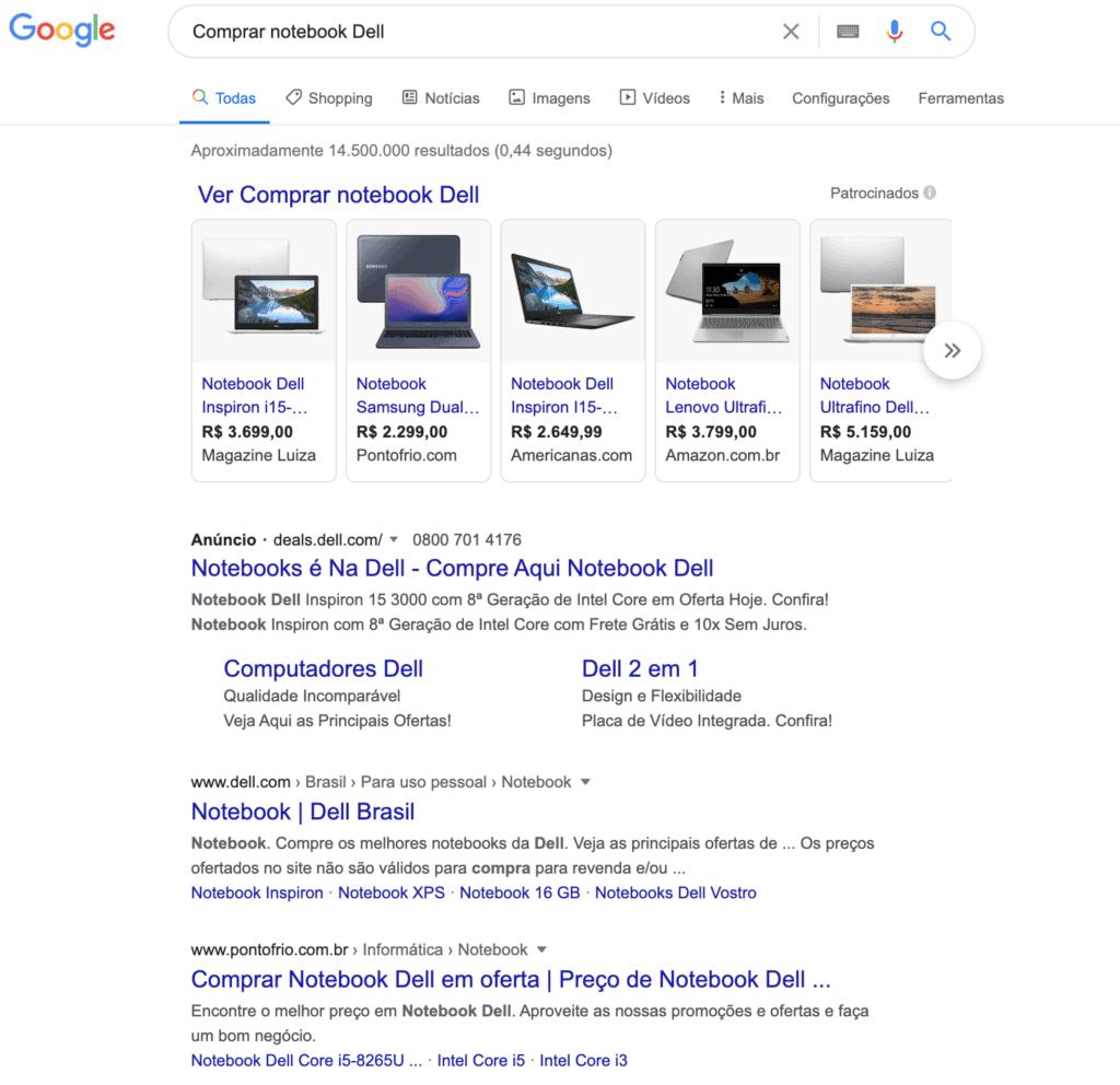 Busca no Google: Comprar notebook Dell