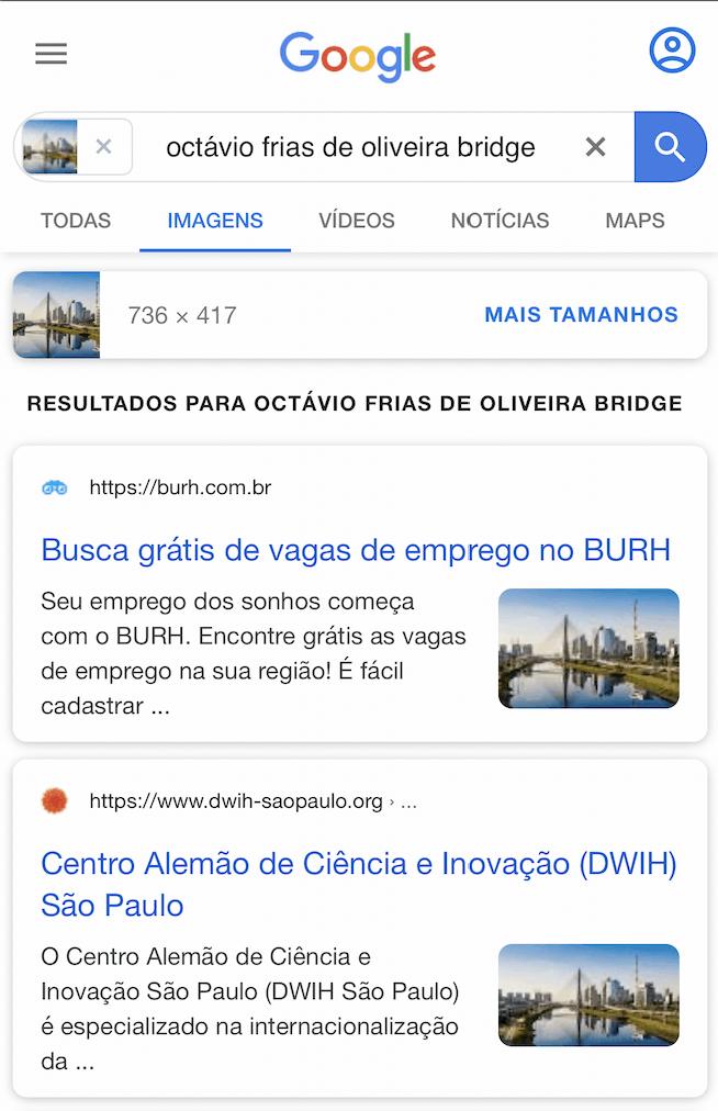 Tela de Resultados do Google Imagens no celular