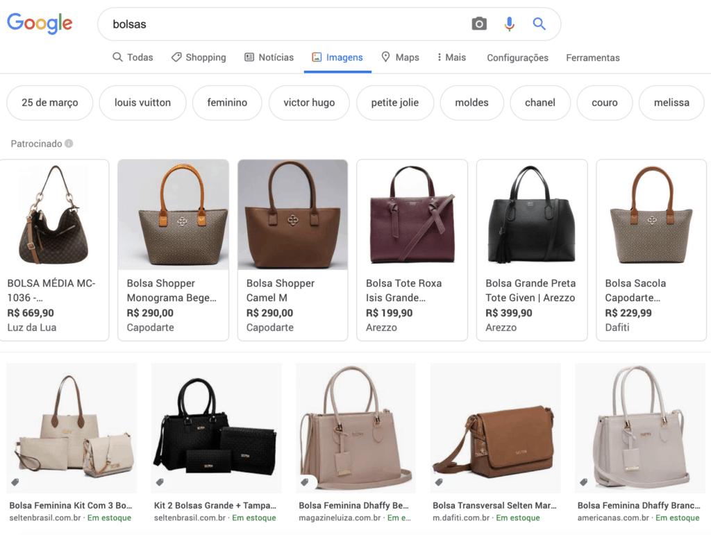Tela do Google Imagens com resultados patrocinados e orgânicos