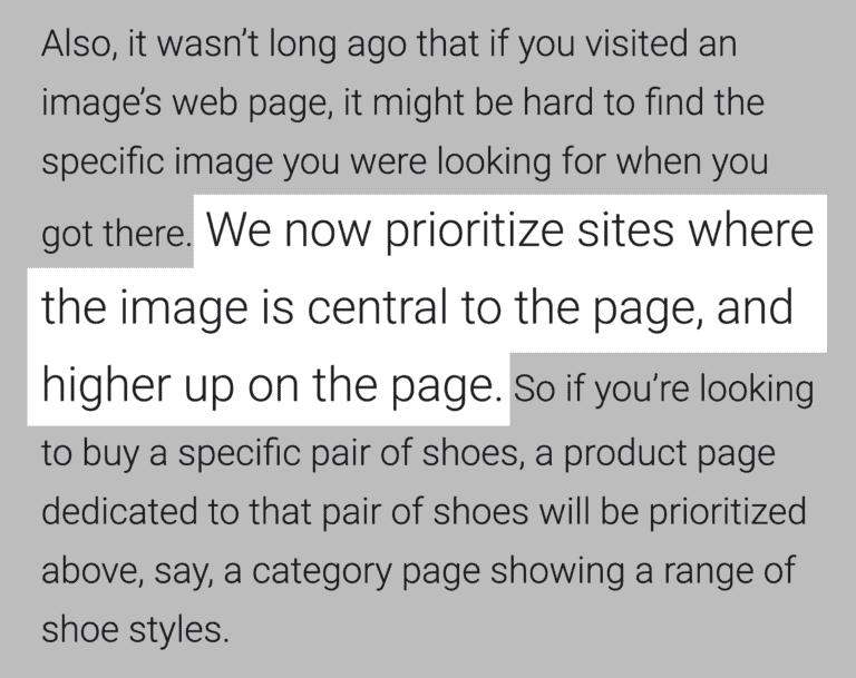 """Google diz: """"Nós agora priorizamos sites onde a imagem está no centro e no topo da página"""""""