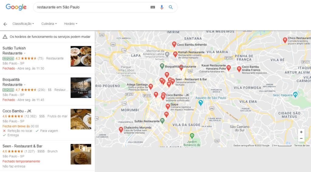 Google Local - busca por restaurante em São Paulo