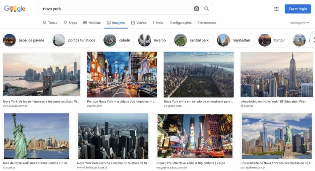Resultados de Busca por Imagens no Google