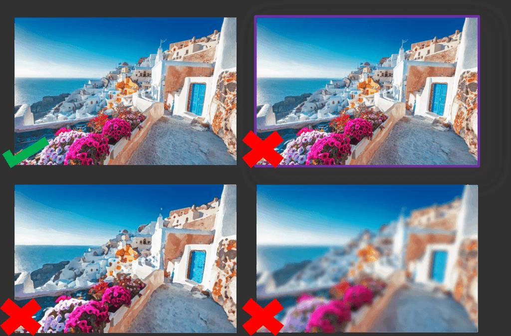 Cuidado com imagens de baixa qualidade