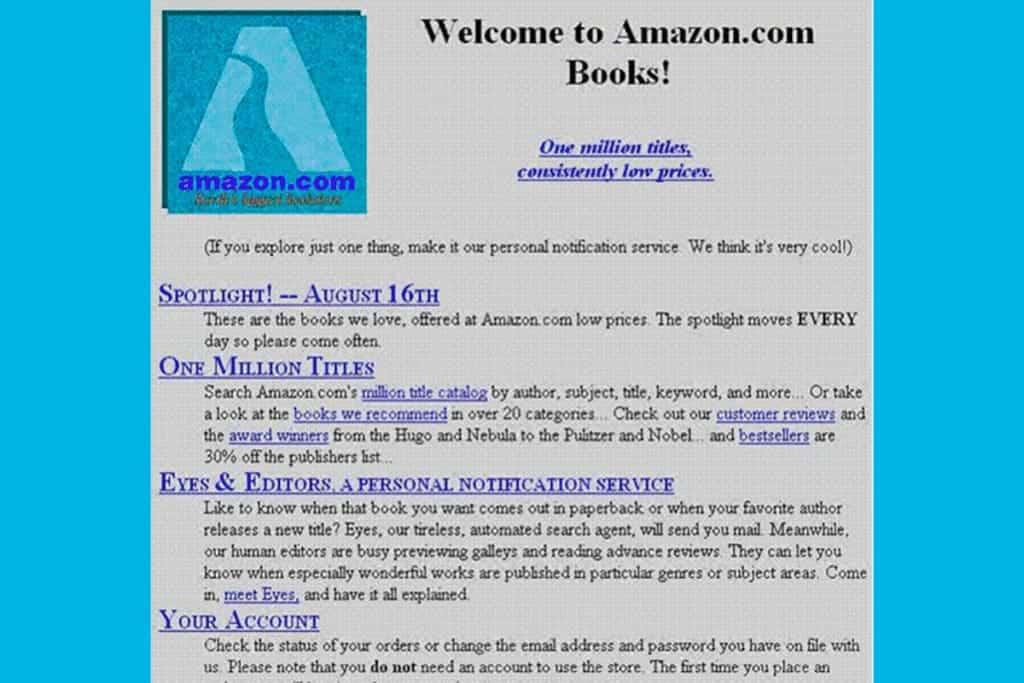 Primeira versão do site da Amazon